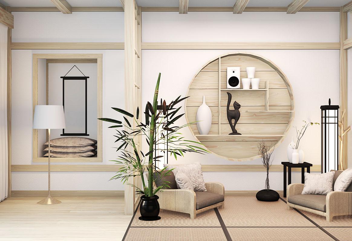 Zen modern room japanese interior with shelf wooden design idea of room japan and tatami mat.3D rendering