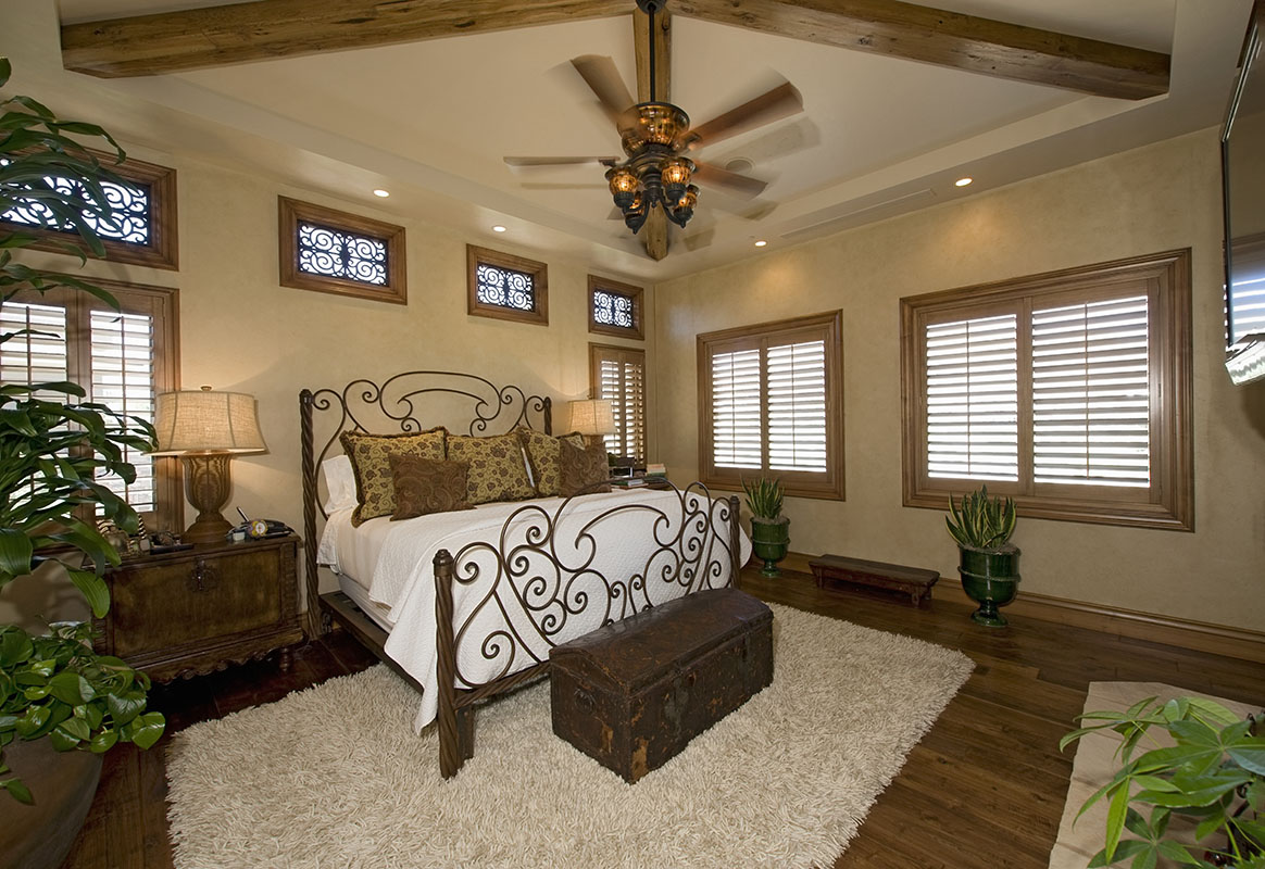 Interior of colonial style bedroom