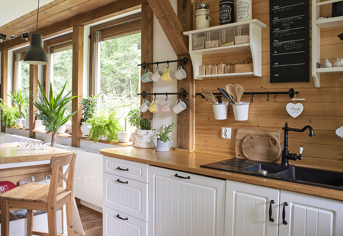 Interior of kitchen in rustic style with vintage kitchen ware an