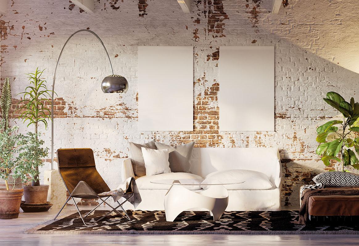vintage brick loft apartment with empty canvas