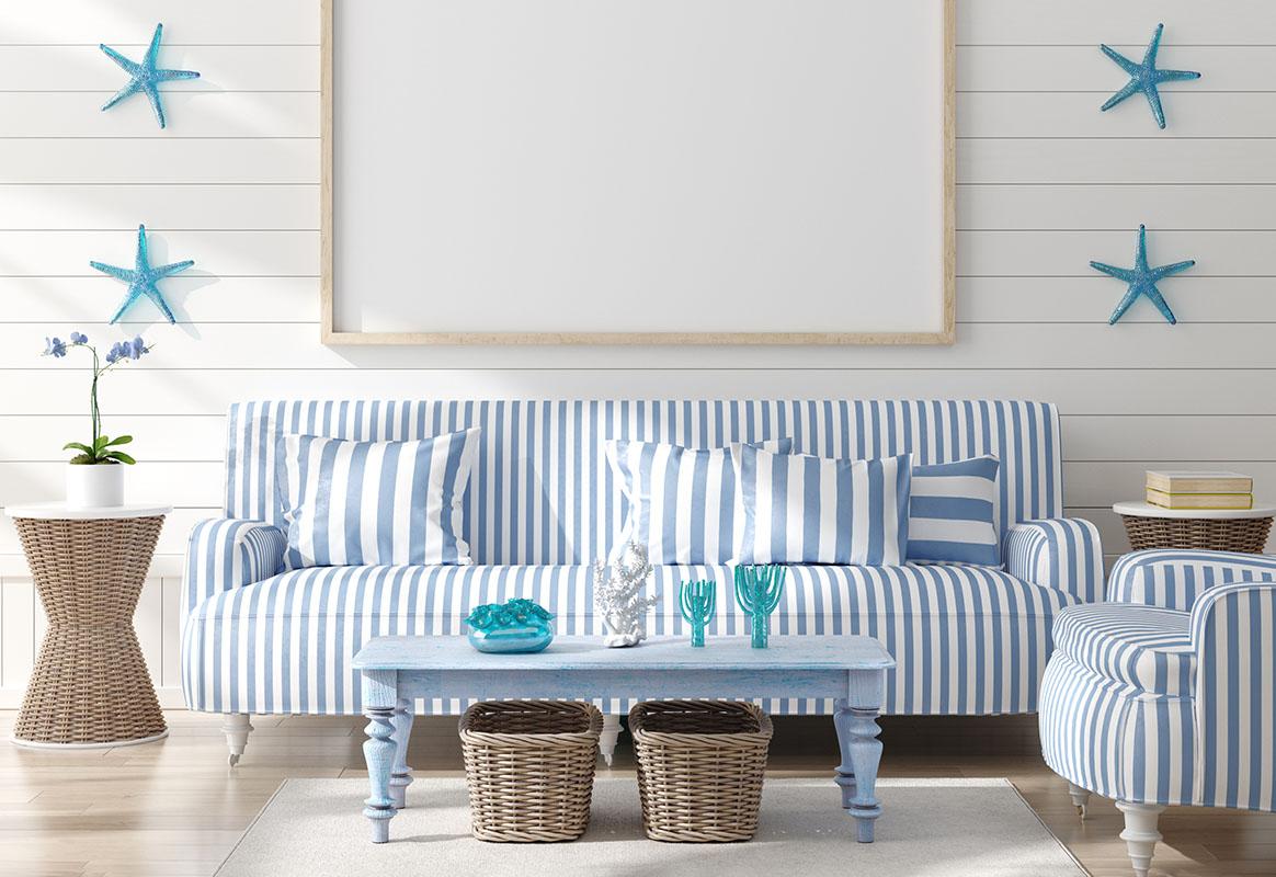 Mock up frame in home interior background, coastal style living